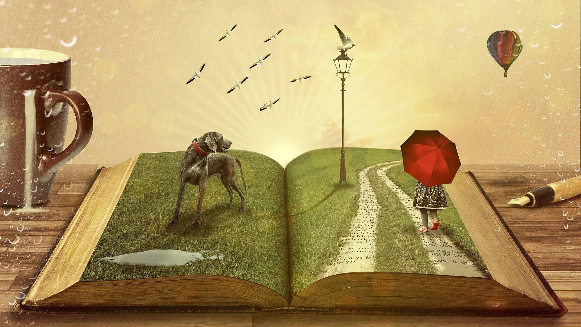 An imagined scene in the pages of a book