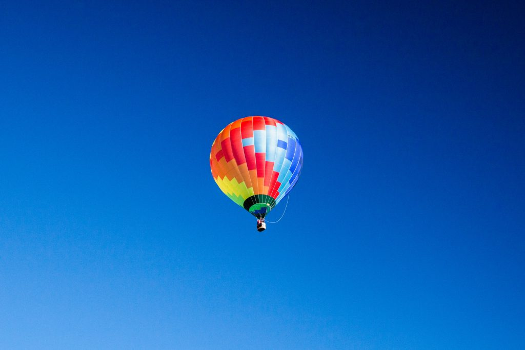 hot air balloon soaring in the sky