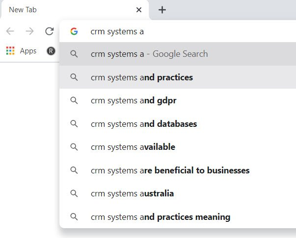 Google Autosuggest with letter a