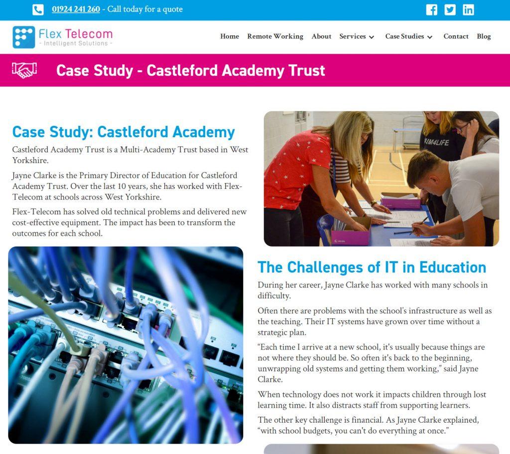 screenshot of flex telecom case study