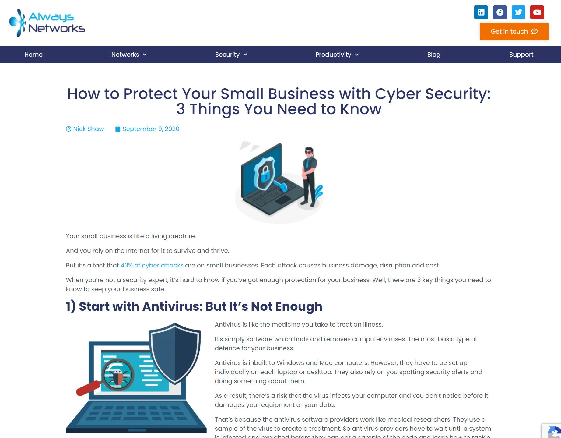 screenshot of cyber security blog post