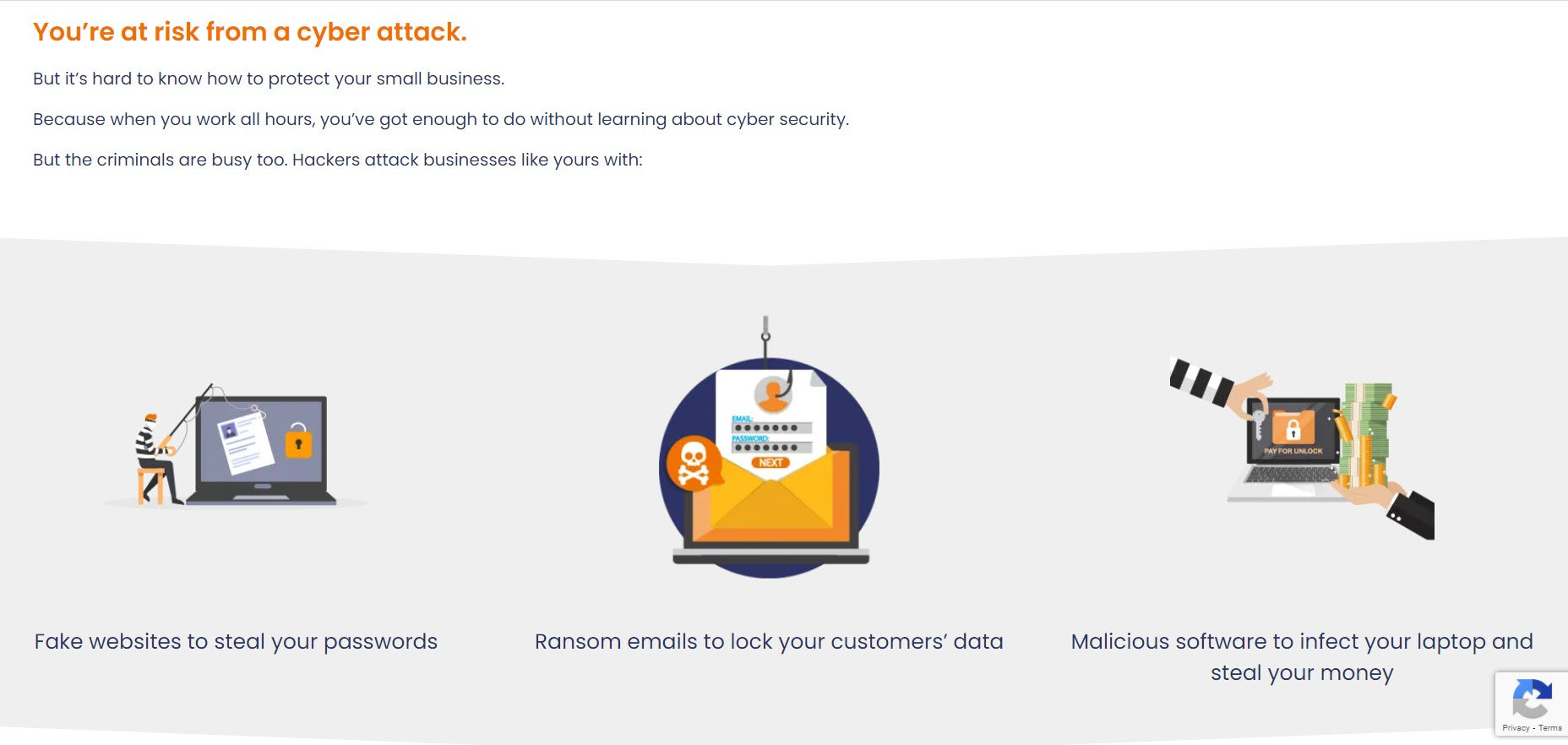 screenshot of small business security shield landing page