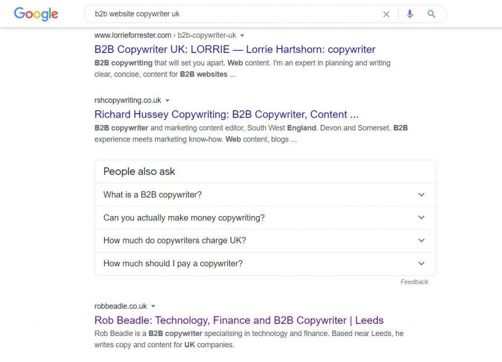 Google search result b2b website copywriter uk