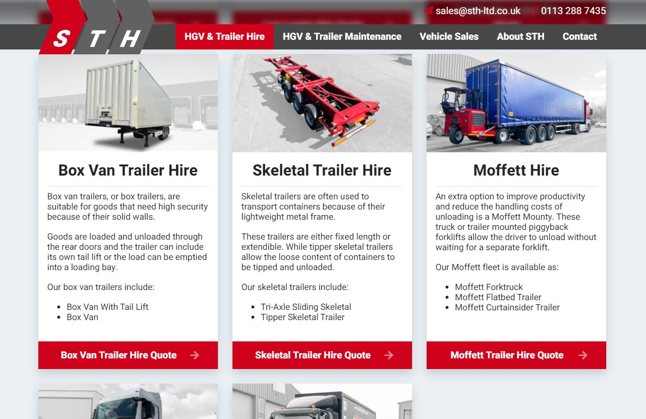 STH website copy screenshot